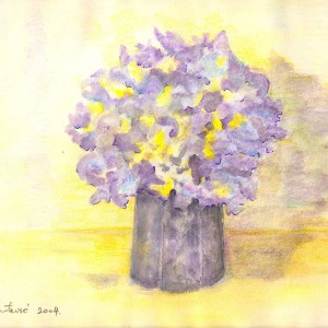 hortenzija---akvarel